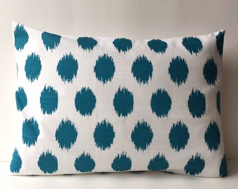 14x18 turquoise and white, ikat pattern