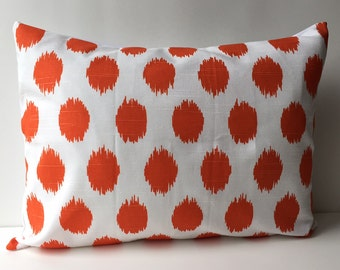 14x18 orange and white ikat pattern