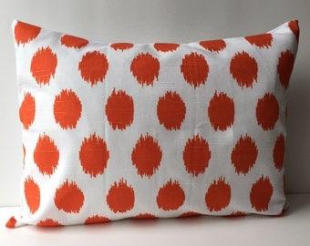 14x18 orange and white ikat pattern