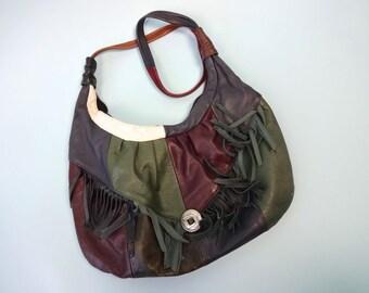 Vintage WESTERN Shoulder Bag •Patchwork Leather Fringe Concho Sling Tote • Multicolor Unique Purse Slouch Hobo Bag • Southwestern Style