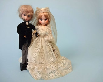 Vintage WEDDING Dolls • 1970s Ceremony Decor • Bride Groom Oversize Cake Topper Shower Ceremony Party Decorations Collectible Bradley Dolls