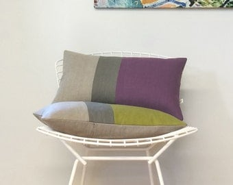 Colorblock Pillow Cover in Amethyst, Stone Grey & Natural Linen Stripes (12x20) by JillianReneDecor - Modern Home Decor - Purple Pillow