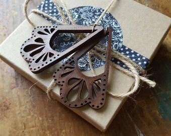 Wooden Folk Lace Earrings, Laser Cut, Wood, Earrings