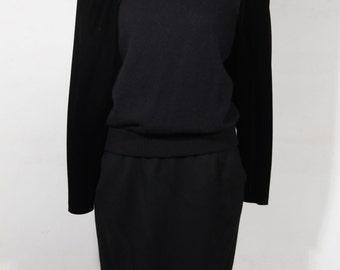 VINTAGE Italian Black Wool Blend BOW Sweater & Skirt Set Size 42 it GA