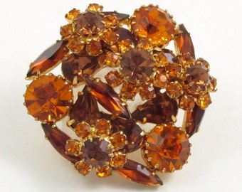 Vintage Amber Brown Glass Rhinestone Floral Cluster Brooch, Shawl Pin