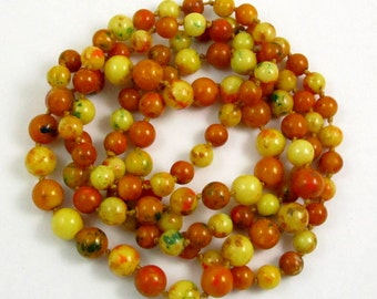 Art Deco Faux Amber Bead Flapper Necklace Long Necklace Yellow and Brown Speckled Beads Early Plastic Bead Necklace Knotted Necklace Vintage
