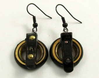 Antique Victorian Earrings, French Jet, Buckle Earrings, Mourning Jewelry