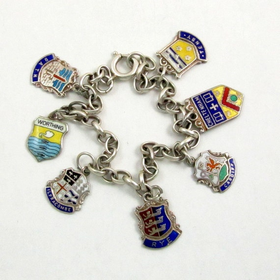 Vintage English Sterling Silver Enamel Travel Shield Charm Bracelet