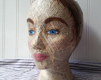 Brunette Mannequin Head mixed media Collage and handpainted Jane Austen Pride and Prejudice text Altered art Folk art