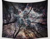 Trees Wall Tapestry, Stars, Forest, Night Sky Home Decor, Nature Tapestry, Wall Tapestry, Home Decor,Whimsical Tree Branches,Woodland,Woods