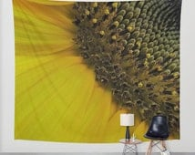 SUNFLOWER Tapestry, Yellow Tapestry, Flower Tapestry, Yellow Large Wall Decor, Nature Tapestry, Sunny Tapestry, Happy, Macro, Seeds, Vivid