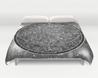 ZODIAC Map Duvet Cover, Vintage Map Bedding, Black White Map Bedspread, Decorative, Unique Design, Comforter Cover, Ancient Zodiac Map,Space