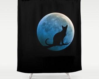 Cat and Full Moon Shower Curtain, Black Teal Shower Curtain, Bathroom, Blue Moon Home Decor, Fantasy Shower Curtain, Halloween, Dorm, Goth