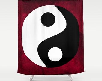 Yin and Yang Shower Curtain, Symbolism Bathroom, Red Black White Home Decor, Buddhist Symbol Shower Curtain,Chinese Home Decor,Zen,Buddhism
