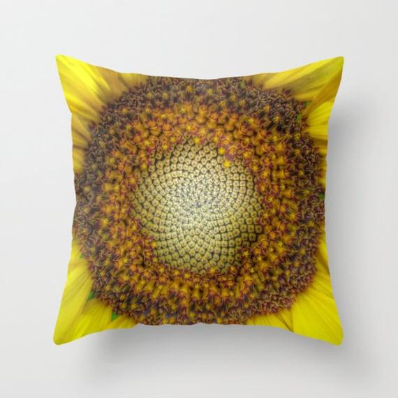 GHOST Sunflower Throw Pillow, 16x16, 18x18, 20x20, Decorative Pillow, Cover, Cushion, Yellow Pillow, Sunflower Decor, Vivid, Bold, Sunny
