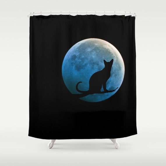 Cat And Full Moon Shower Curtain Black Teal Shower Curtain