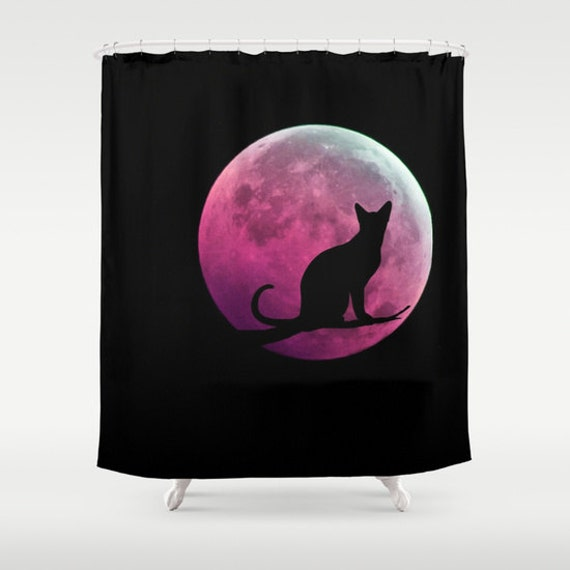 Cat and Full Moon Shower Curtain, Black Pink Shower Curtain, Bathroom, Pink Moon Home Decor, Fantasy Shower Curtain, Halloween, Dorm, Goth