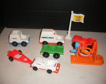 Vintage 1970's Fisher Price Vehicles, Swing, and Flag Pole