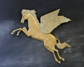 Vintage Pegasus Brass Wall Piece, Flying Horse Wall Hanging