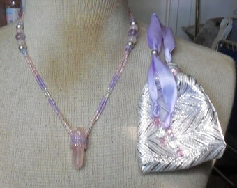Beaded Double Terminated Rose Quartz Crystal Vogel Point Wand Necklace with Amethyst Semiprecious Stone Gemstone Beads Small Size OlyTeam