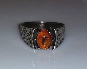 Amber Filigree Ring Sterling Silver
