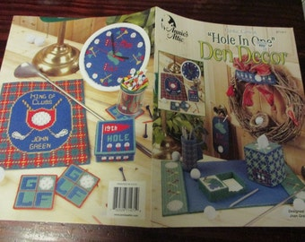 Plastic Canvas Sport Patterns Hole in One Den Decor Annie's Attic 871471 Golf Pattern Leaflet Joan Green
