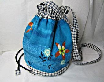 Drawstring Bucket Bag Fabric Shoulder Sack Bag One-of-a-Kind Bag