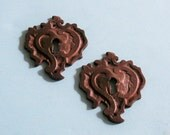 2 Antique Vintage Brass Keyhole Key Hole Cover Covers Escutcheons Steampunk Jewelry Ornate DIY Jewelry Keyhole Covers