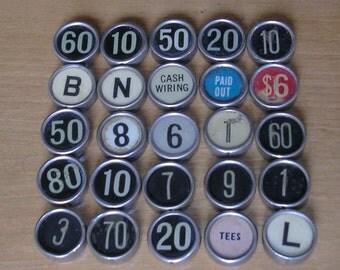 3 Antique Vintage Cash Register Keys Typewriter Keys  DIY Jewelry Cufflinks Weddings Pendants Cash Register Keys