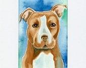 PItbull Watercolor Painting, Children's Art Painting of a Pitbull dog, Original Watercolor Painting Size 5 x 7, Dog Art, Dog Lover Gift