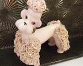 Vintage pink poodle figurine pink spaghetti poodle ceramic poodle figurine 1950s poodle mid century home decor