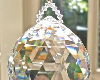 "GIGANTIC 70mm Swarovski Crystal Ball Suncatcher, Prism, 2.76 Inches in Diameter -  Breathtaking Rainbow Maker - ""SIMPLICITY COLOSSAL"""