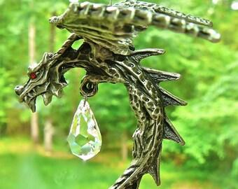 CELTIC DRAGON - Pewter and Swarovski Crystal Suncatcher - Large Pewter dragon with Red Swarovski Eyes