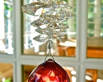 """Red Crystal Ball Suncatcher, 30mm Bordeaux Swarovski Crystal Prism and Swarovski Crystal Octagons - Available in 14 Colors - """"CATHERINE"""""""