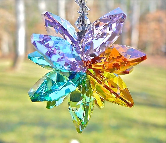 Pastel Rainbow Colored Crystal Cluster Sun Catcher Entirely