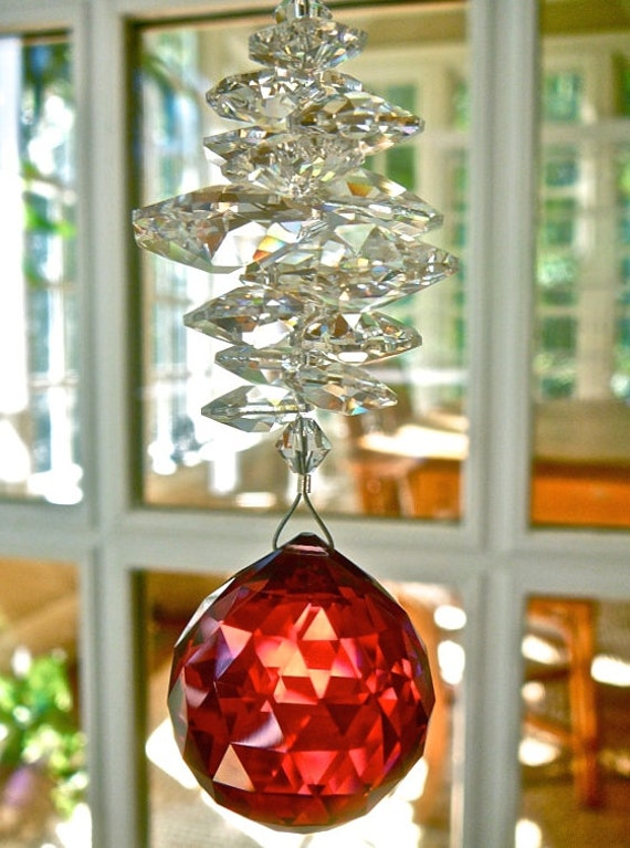 "Red Crystal Ball Suncatcher, 30mm Bordeaux Swarovski Crystal Prism and Swarovski Crystal Octagons - Available in 14 Colors - ""CATHERINE"""