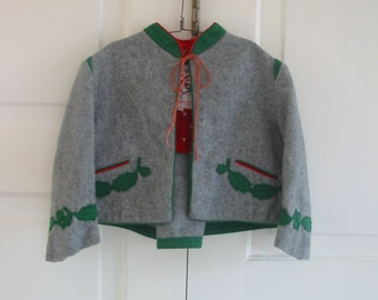 Vintage Girl Toddler Jacket Coat Cape German Wool Gray Grey Green Octoberfest 3T 4T