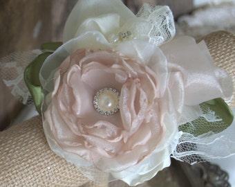 Wedding Wrist Corsage, Bridal Corsage, Fabric Corsage MOB, MOG Corsage, bridesmaids corsage, Bridal Accessory, Vintage Corsage, Bracelet