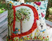 Hand Embroidered Initial Pillow LARGE Size Custom Design