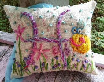 Hand Embroidered Initial Pillow MEDIUM SIZE Custom Design