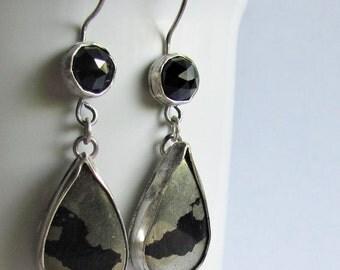 Iron Pyrite and Black Spinel Earrings - Apache Gold Earrings - Teardrop Earrings - Fool's Gold