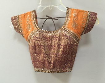 Indian Cropped Blouse, Choli Sari Blouse Gold Paisley Choli Sequined Embroidered Crop Top Tribal Ethnic Bohemian India Saree shirt open back