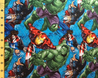 Marvel Large SuperHeroes on Blue Fabric By The Yard FBTY