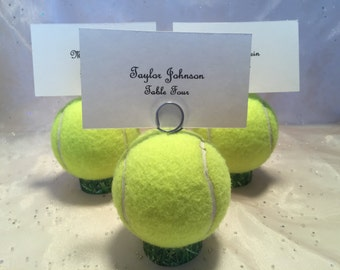 Tennis Ball Place Card Holders Table # Holders Menu Holders Favor Wedding Tennis Awards Dinner Tennis Event