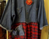 Denim and Plaid Fleece Plus Size TunicUpfashioned Fall Funwear