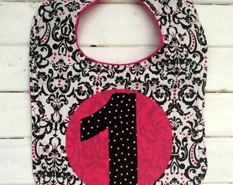 First Birthday Bib- Black/White/Hot Pink Damask
