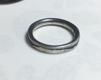 3mm comfort fit mountains ring, oxidised