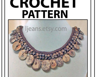 Crochet Wooden Disk Bead Necklace Pattern