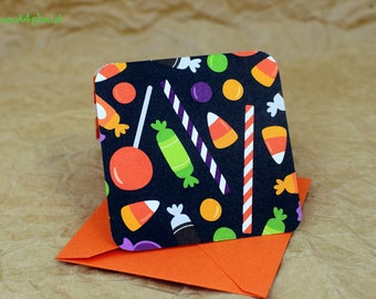 Blank Mini Card Set of 10, Halloween Candy Design with Constrasting Candy Corn Pattern on the Inside, Orange Metallic Envelopes, mad4plaid