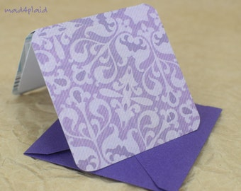 Blank Mini Card Set of 10, Intricate Lavender Design with Contrasting Stripe on the Inside, Metallic Purple Envelopes, mad4plaid